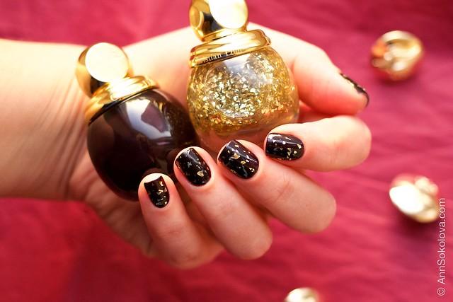 07 Dior Diorific Vernis #001 Golden Shock over #990 Smoky swatches