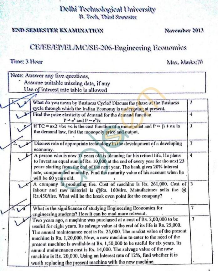 DTU: Question Papers 2013 – 3 Semester - End Sem - CE-EE-EP-EL-MC-SE-206