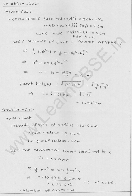 RD Sharma Class 9 solutions Chapter 21 Surface Area and volume of A Sphere Ex 21.1 24