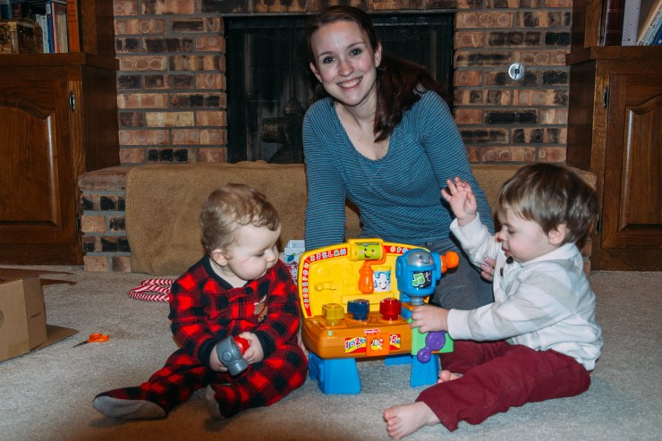 Sarah and the boys on Christmas Eve