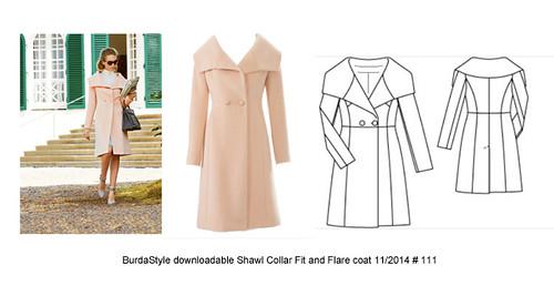 Burda coat 111 shawl collar pattern