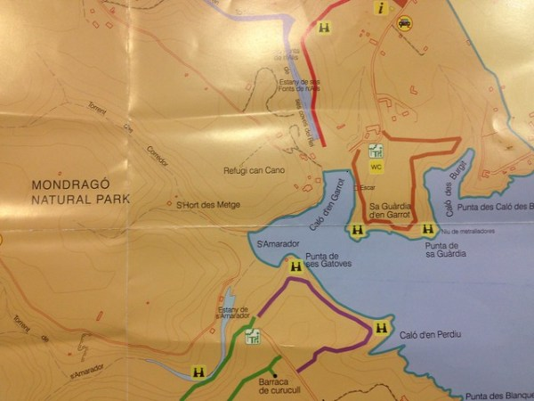 Map of Mondragó Natural Park