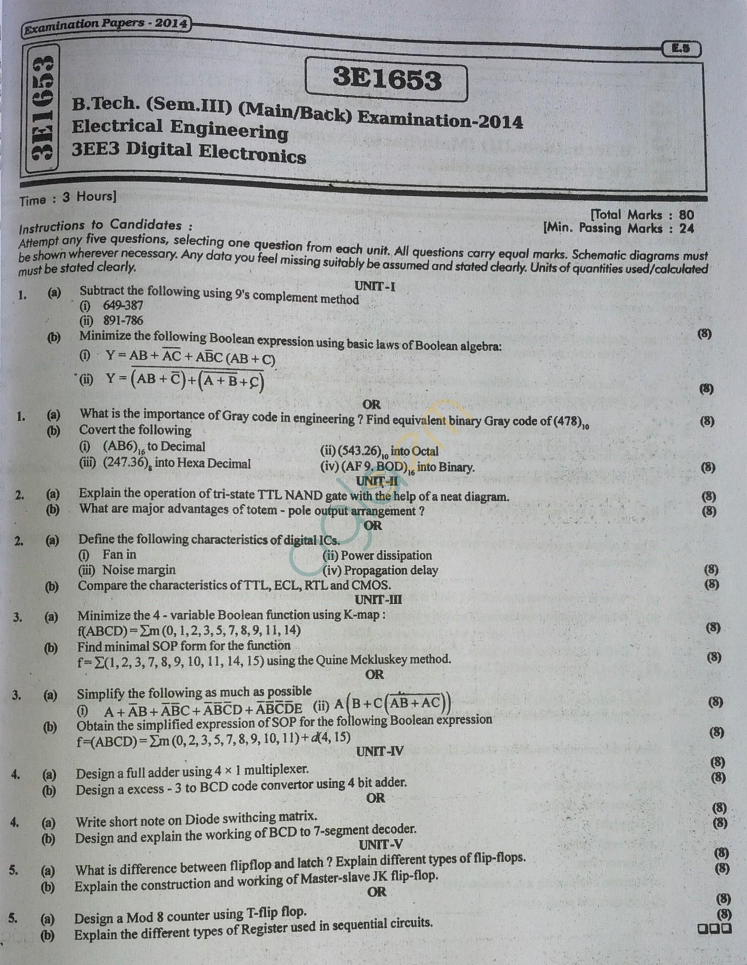 RTU: Question Papers 2014 - 3 Semester - EE, EC & CS - 3E1653