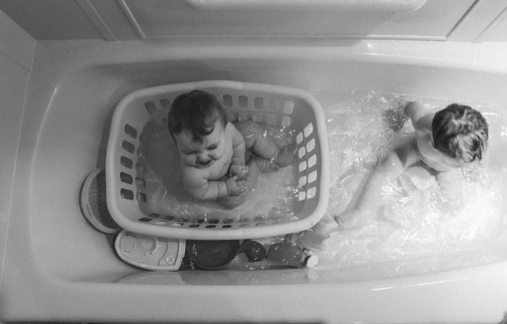 Ezra and Micah Bath time