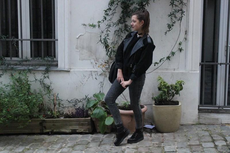 Jean taille haute et veste en cuir année 80