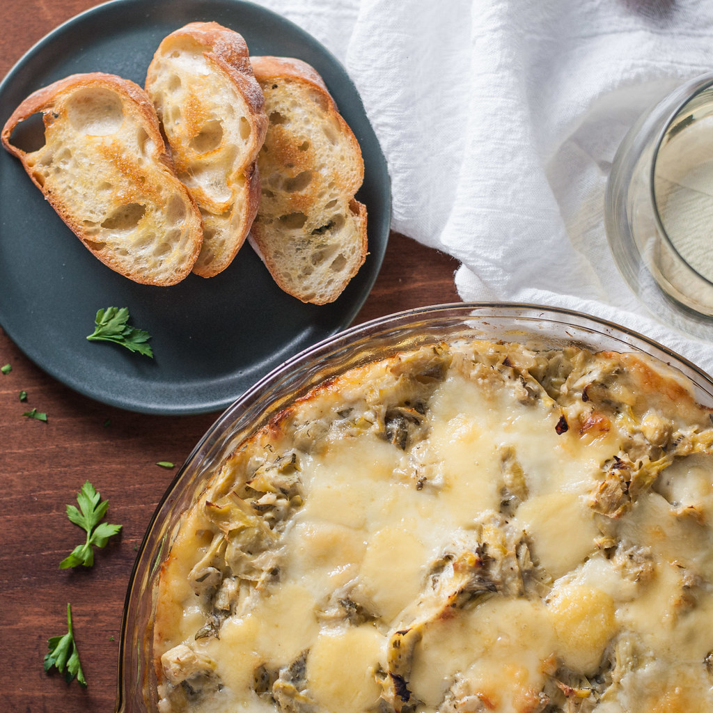 Martha's hot fontina & artichoke dip | A toasty, make ahead, portable party dip #recipe
