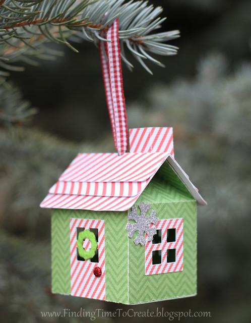 House Ornaments - striped printed trim