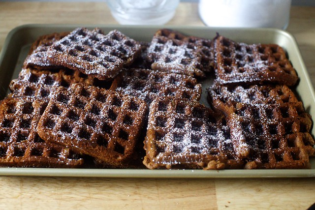 gingerbread waffles, dusted