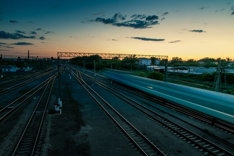 Train passing in the evening.