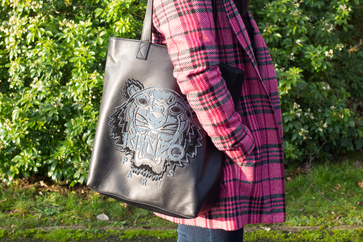 Pink tartan coat and kenzo bag