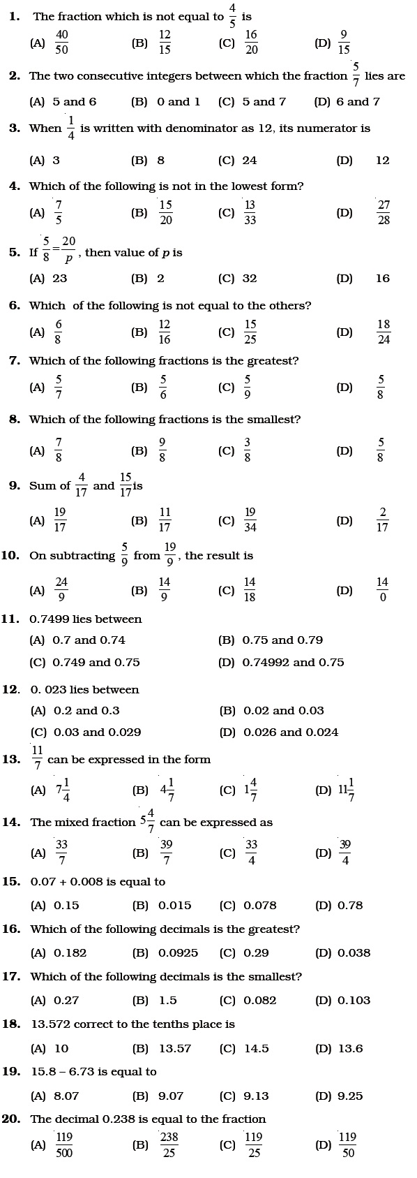 medium resolution of Class 6 Important Questions for Maths – Fractions and Decimals   AglaSem  Schools