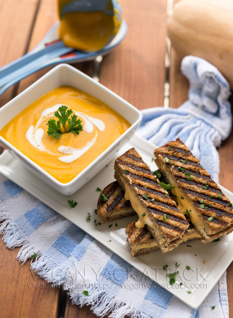 Need a comforting dinner to warm you up? Try my Roasted Butternut Garlic Bisque with Grilled 3-Cheese Sandwich Sticks! Completely vegan and utterly delicious.