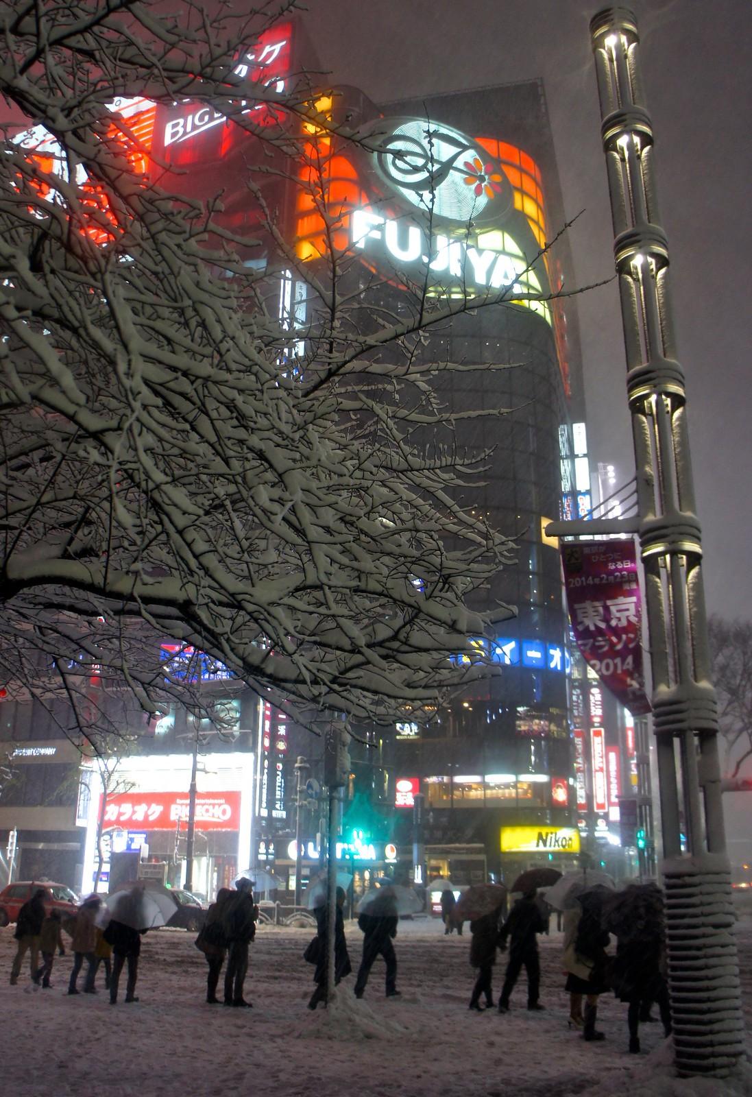 FUJIYA square Ginza in snow