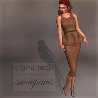Snowpaws - Elle Belted Suite Outfit - Tan Tweed
