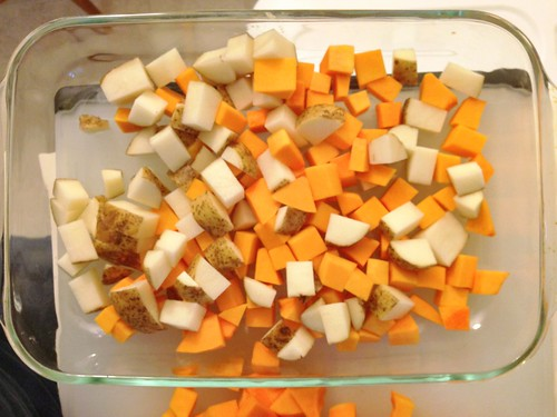 cubed potatoes and butternut squash