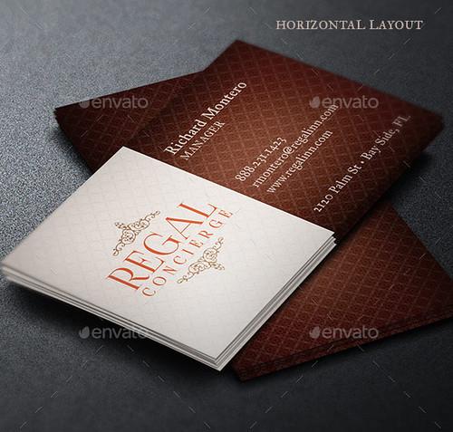 Regal Concierge Business Card Template - Horizontal  Layout