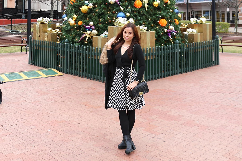 Christmas Outfit, DVF wrap dress