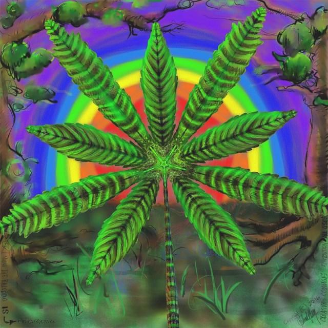 Cannabis Mandala with Rainbow (reversed)