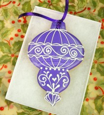 Purple gift boxed ornament cookie
