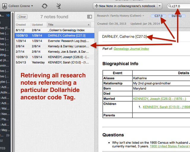 Screenshot: Evernote for Genealogy