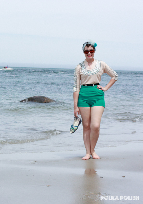 Perfect seaside weather for an outing - and an outfit featuring a mix of vintage and new pieces