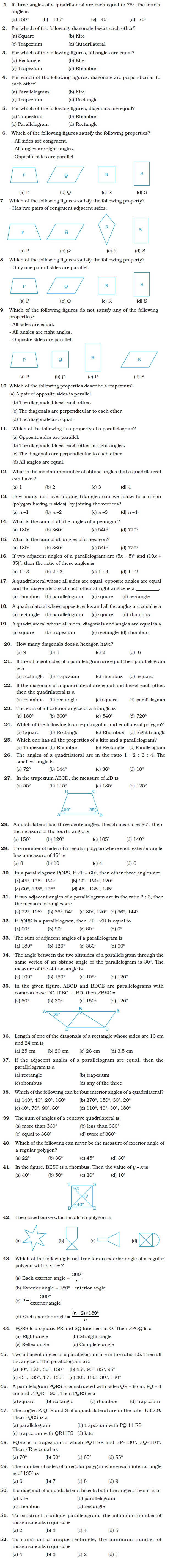 hight resolution of Class 8 Important Questions for Maths – Understanding Quadrilaterals and  Practical Geometry   AglaSem Schools