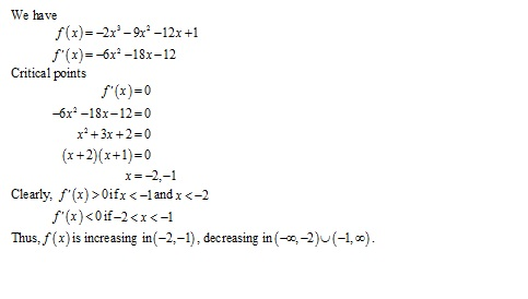Free Online RD Sharma Class 12 Solutions Chapter 17 Increasing and Decreasing Functions Ex 17.2 Q1-xiv