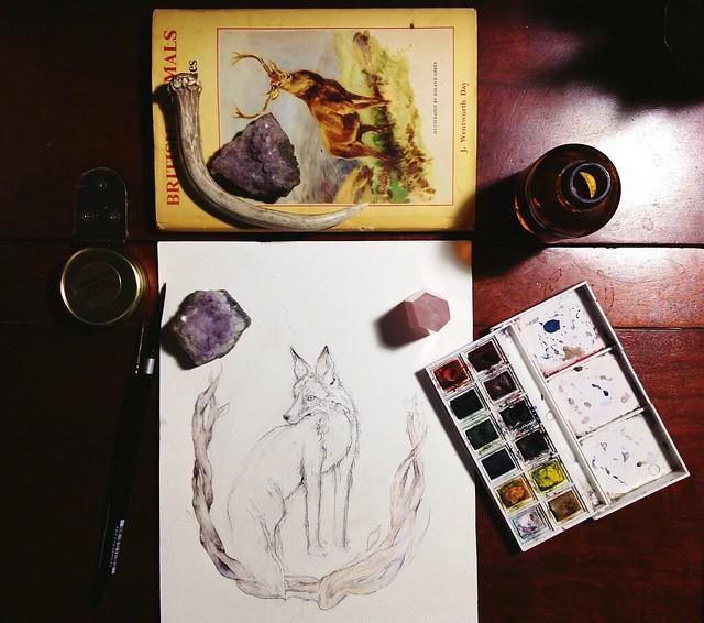 fox painting in progress.