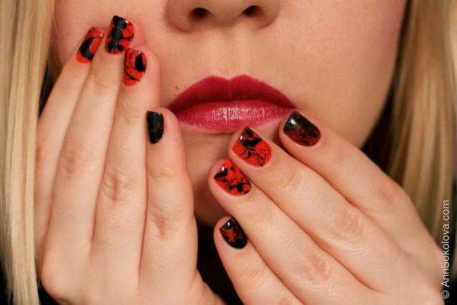 12 Morgan Taylor Halloween Collection 2014   Orange Crush swatches splatter nails Dior Rouge 977 Pied de Poule