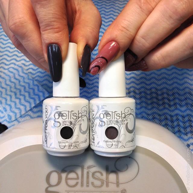 17 Процедура нанесения гель лака Gelish   Fashionably Slate + Let's Hit The Bunny Slipes Гармония Плюс преподаватель Галина Старенко