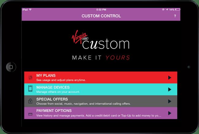 Virgin Moble Custom - Custom Control app