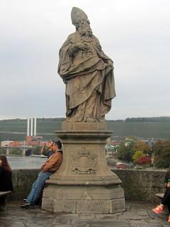 Statue on Alte Mainbrucke Bridge