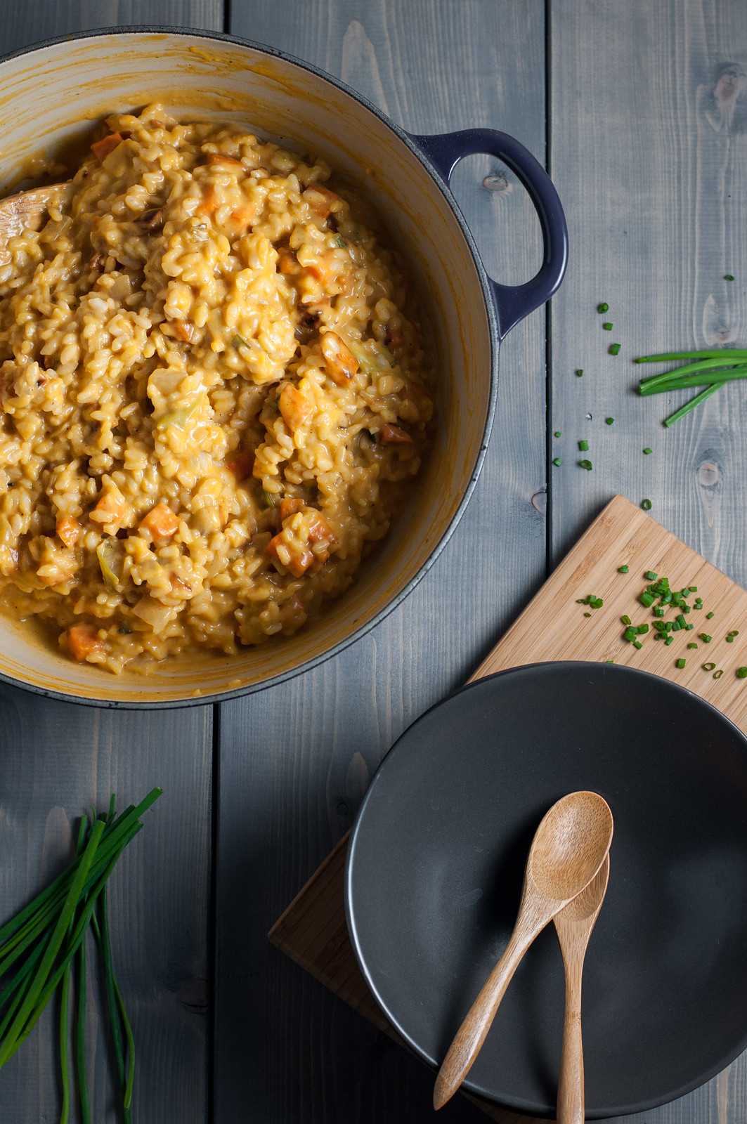 Meatless (and gluten free) loaded sweet potato risotto