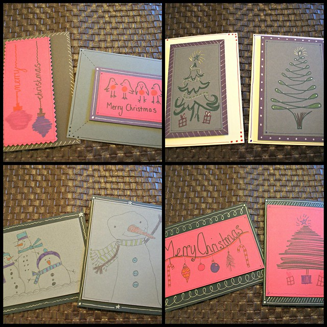 drawn christmas card collage