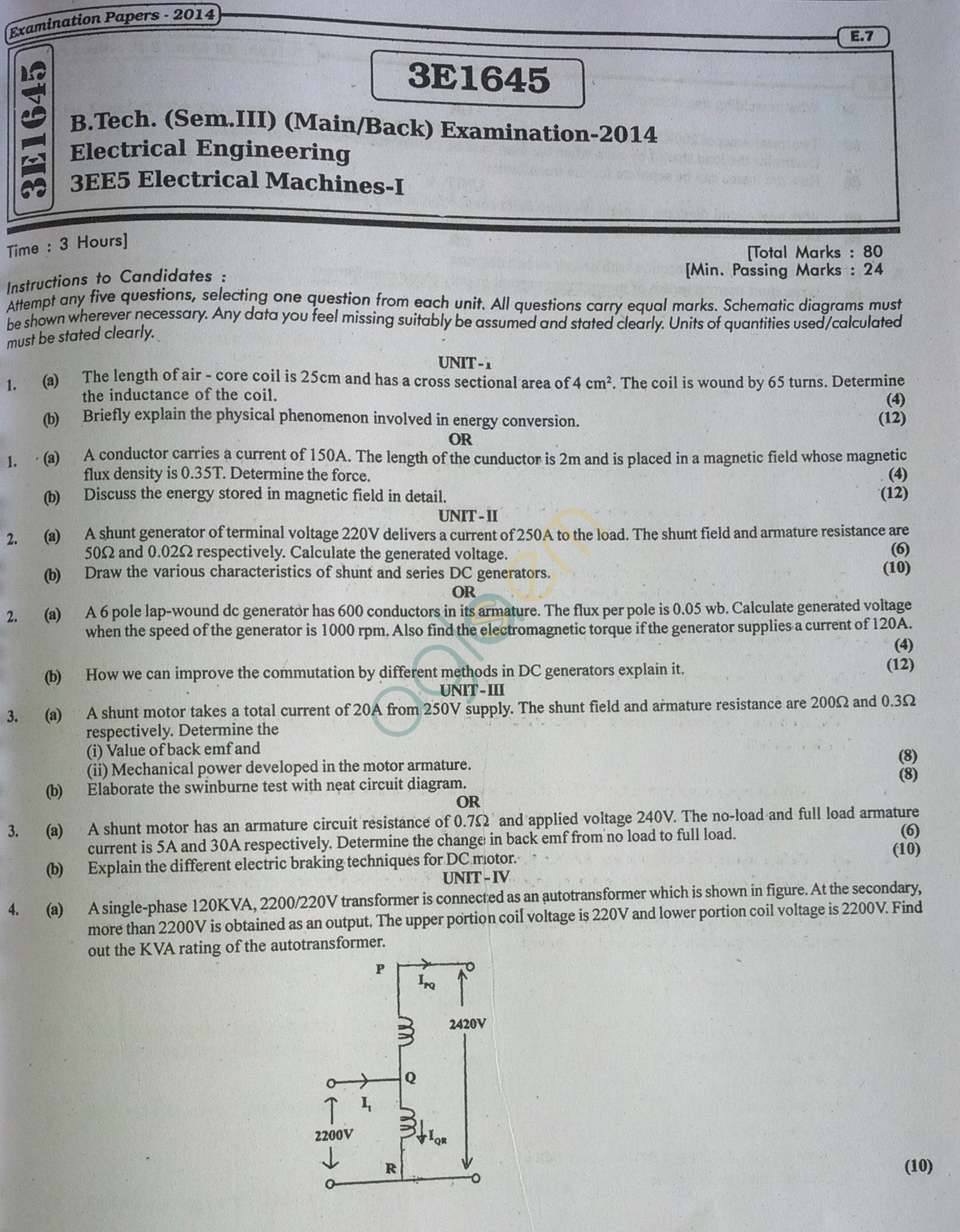 RTU: Question Papers 2014 - 3 Semester - EE - 3E1645