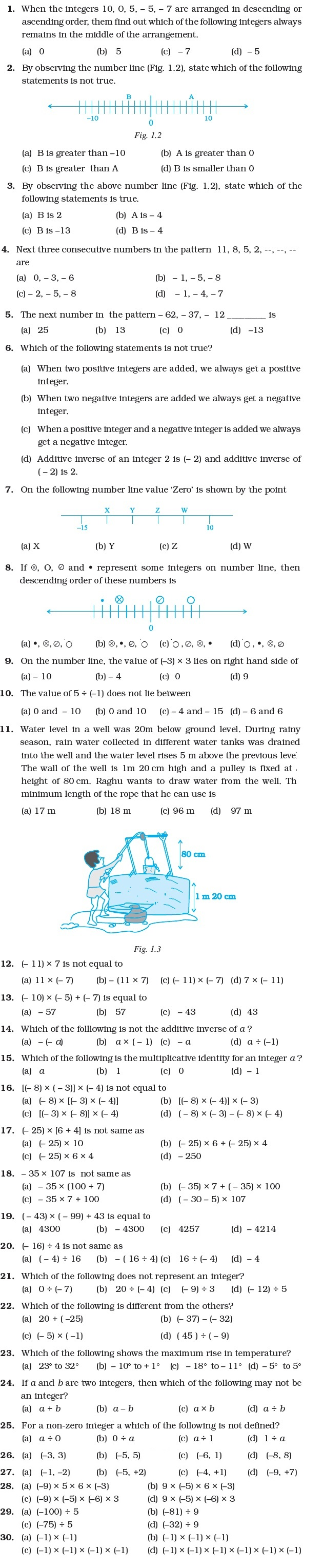 hight resolution of Class 7 Important Questions for Maths – Integers   AglaSem Schools
