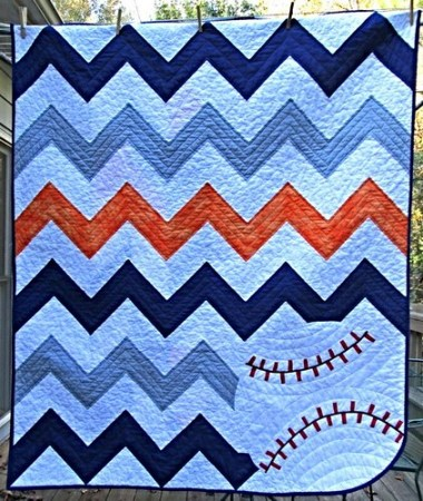 Chevron Baseball Quilt Finished Hip To Be A Square Quilting Podcast Custom Baseball Quilt Pattern