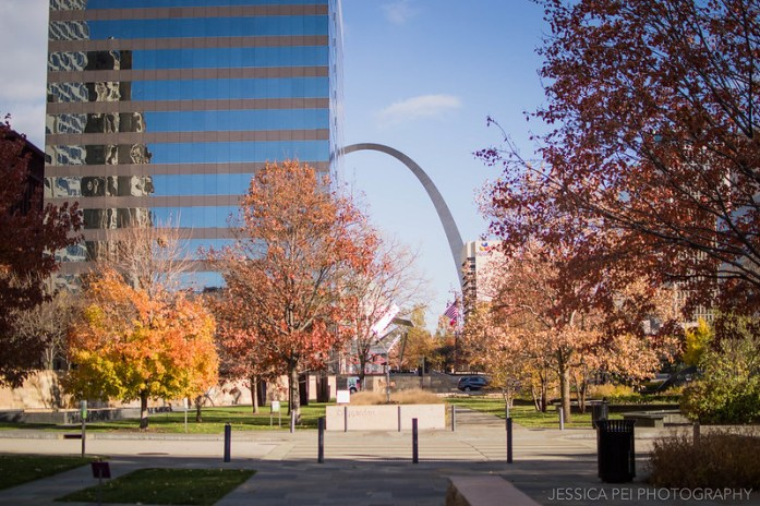 Citygarden in St. Louis during Fall Autumn