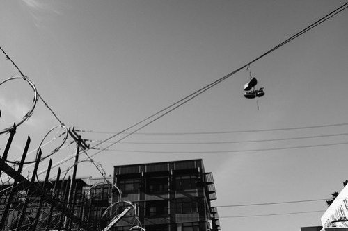 Shoes on the wires. Seattle, WA. August 2016.