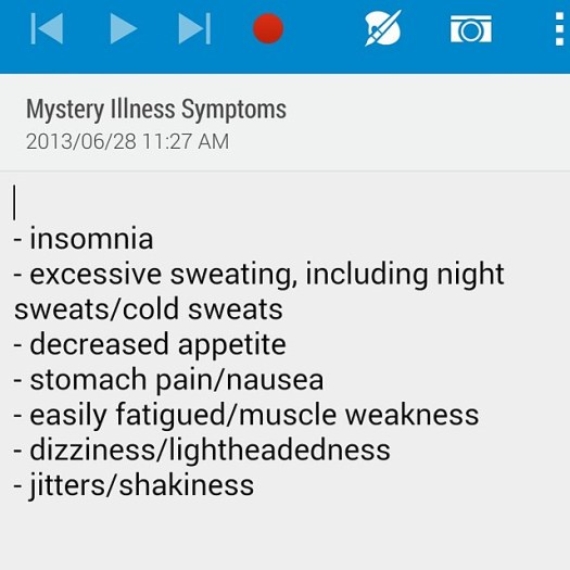 Aw look at this cute list of symptoms I found on my phone from before I was diagnosed with Graves' #thyroidproblems