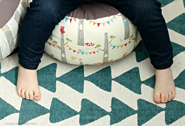 Triangle Rug and Woodland Pouf