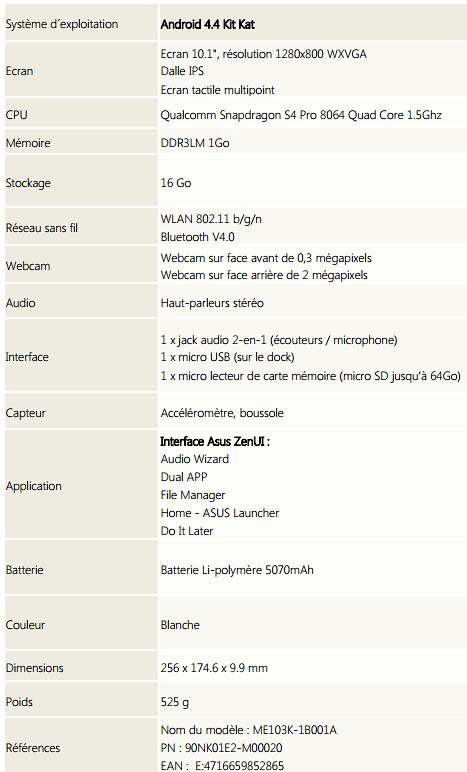 Asus MeMO Pad 10 ME103K, une nouvelle 10 pouces low-cost