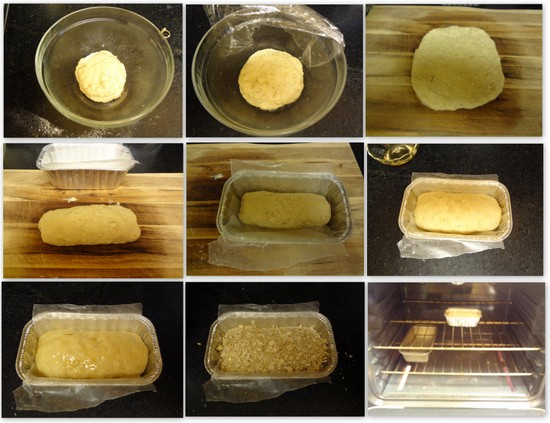 Collage of honey oats bread preparation