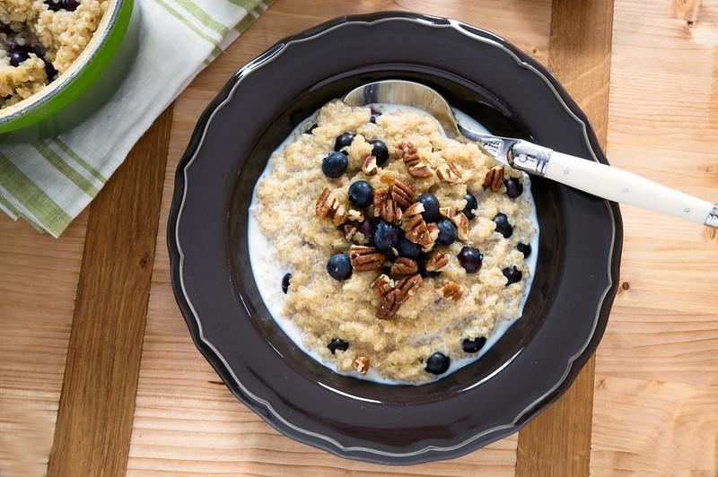 blueberry breakfast quinoa with pecans