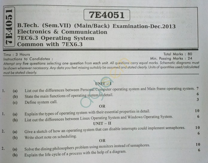 RTU: Question Papers 2013 - 7 Semester - EC - 7E4051