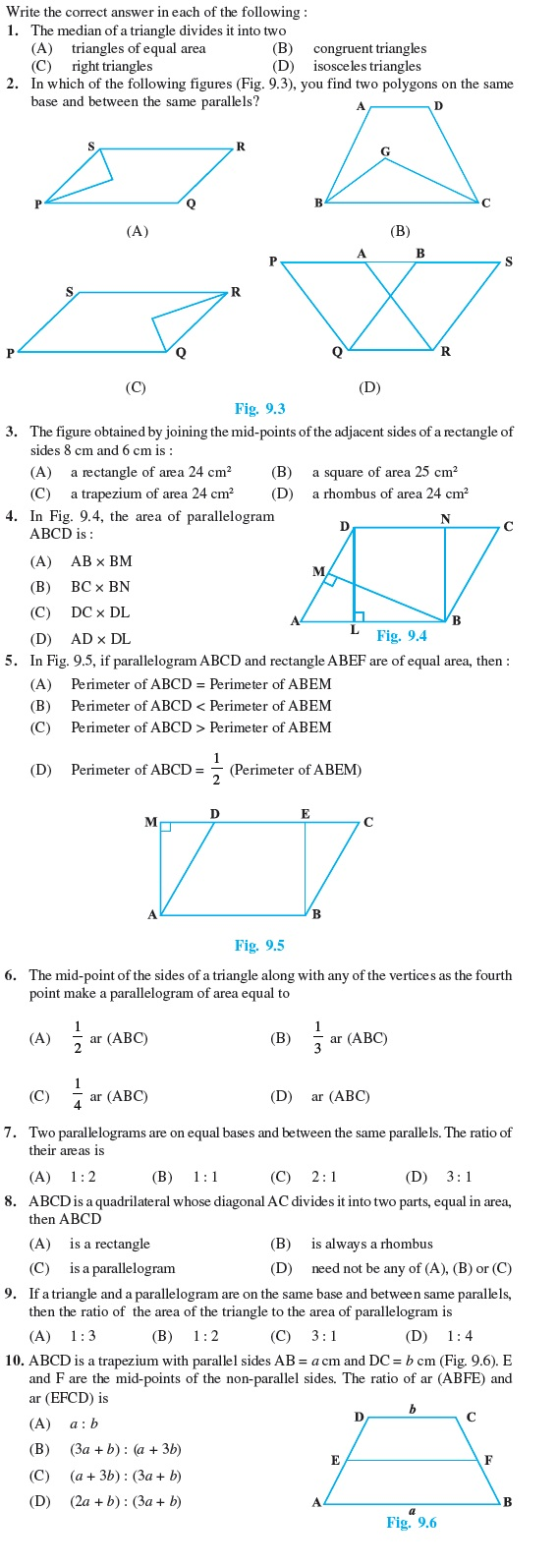 hight resolution of Class 9 Important Questions for Maths - Areas of Parallelograms and  Triangles   AglaSem Schools