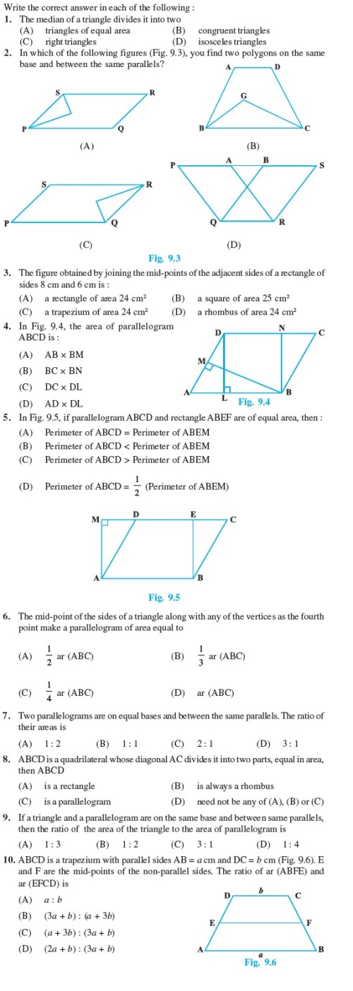 small resolution of Class 9 Important Questions for Maths - Areas of Parallelograms and  Triangles   AglaSem Schools