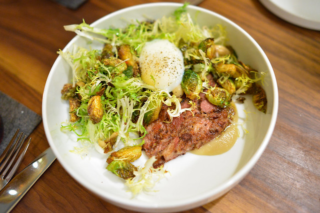 SMOKED PORK TROTTER slow egg, brussels sprouts, mustard