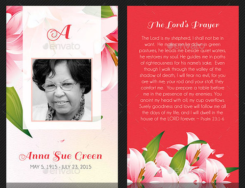 Petals Funeral Stationery Template Set