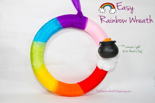Easy Rainbow Wreath for St. Patrick's Day